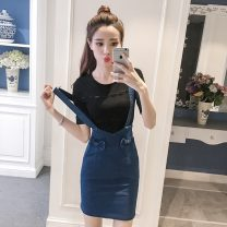 Dress Summer 2021 blue S,M,L,XL Middle-skirt singleton  Sleeveless commute other High waist Solid color Socket Pencil skirt other straps Korean version Bow, 3D 9980-L other other