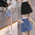 skirt Summer 2021 S,M,L,XL,2XL Light blue, dark blue, black Short skirt commute High waist Denim skirt Solid color 9265-L other other Line decoration, 3D Korean version