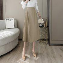 skirt Spring 2021 S,M,L,XL,2XL Khaki, black Mid length dress commute High waist Pleated skirt Solid color Type A 6708#M Korean version