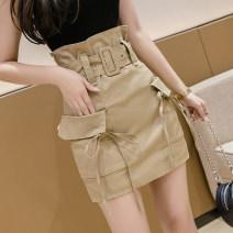 skirt Summer 2021 S,M,L,XL Black, khaki Short skirt commute High waist A-line skirt Solid color Type A Korean version