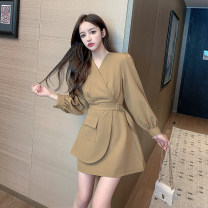 Dress Spring 2021 Khaki, black S,M,L,XL Middle-skirt singleton  Long sleeves commute V-neck High waist Solid color other A-line skirt shirt sleeve Others Type A Korean version Frenulum 5113-L More than 95% other other
