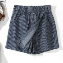 skirt Summer 2021 M,L,XL Blue stripe Short skirt Sweet High waist A-line skirt stripe More than 95% Denim cotton college
