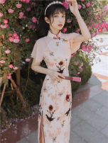 cheongsam Autumn 2020 S,M,L Light powder Short sleeve long cheongsam Retro Low slit daily Round lapel other 18-25 years old Embroidery other