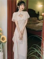 Dress Spring 2021 Apricot silver embroidery XS,S,M,L longuette singleton  Short sleeve commute High waist Solid color zipper Retro Embroider, nail bead other