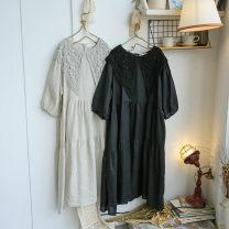 Dress Summer 2021 Black, hemp Average size Mid length dress singleton  Loose waist Decor A-line skirt Type A cotton