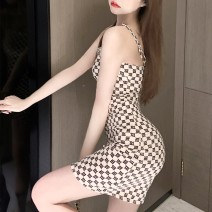 Dress Summer 2020 Picture color S,M,L Short skirt singleton  Sleeveless commute square neck High waist letter zipper One pace skirt routine camisole 18-24 years old Type A Korean version More than 95% other polyester fiber