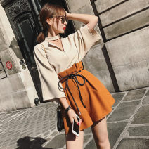 Fashion suit Summer of 2019 S,M,L,XL,XXL,XXXL Beige Top + camel shorts, red top + white shorts 18-25 years old JT0021