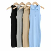 Dress Spring 2021 Sky blue, black, gray, khaki S, M Short skirt singleton  Sleeveless Polo collar High waist Solid color Socket A-line skirt routine Others 25-29 years old Splicing 71% (inclusive) - 80% (inclusive) knitting polyester fiber