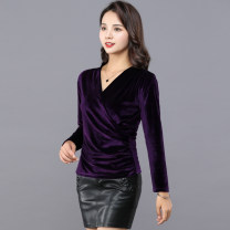 T-shirt Black, dark purple S,M,L,XL,2XL,3XL Autumn of 2019 Long sleeves V-neck Self cultivation Regular routine commute polyester fiber 86% (inclusive) -95% (inclusive) 30-34 years old Simplicity other Solid color The edge of clothes is the same