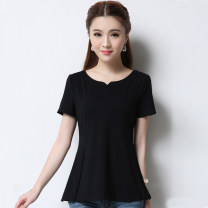T-shirt Black, red S,M,L,XL,2XL,3XL Summer 2020 Short sleeve V-neck Self cultivation Regular routine commute cotton 86% (inclusive) -95% (inclusive) 25-29 years old Simplicity other Solid color The edge of clothes is the same 602# Bright line decoration, craft
