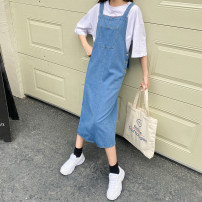 Dress Summer 2021 Dark blue, medium blue, light blue S,M,L,XL longuette singleton  Sleeveless commute High waist Solid color Irregular skirt camisole 18-24 years old Type A Other / other Korean version Hand worn, patched, stitched, worn, buttons other other