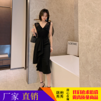 Dress Summer 2021 black S,L,M Middle-skirt singleton  Sleeveless commute V-neck middle-waisted Solid color zipper One pace skirt routine Others 25-29 years old Type H ZY · HT / Ziyan Hongteng Stitching, ruffles 51% (inclusive) - 70% (inclusive) other other