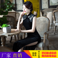 cheongsam Spring 2021 XXL,XXXL,S,M,L,XL Black lace 1759 Sleeveless long cheongsam Retro High slit banquet Round lapel Jian Limei other