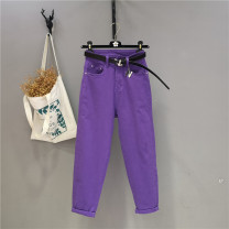 Jeans Summer 2020 Deep purple (for belt) pink (for belt) yellow (for belt) light purple (for belt) 26 27 28 29 30 31 Ninth pants High waist loose  Thin money 18-24 years old Washable metal decoration Cotton elastic denim light colour Y20867958 Yizi Butterfly 96% and above