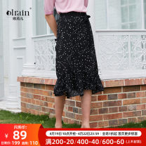 skirt Summer of 2019 S,M,L,XL black Mid length dress commute High waist High waist skirt other Type H 25-29 years old other OLrain polyester fiber Ol style