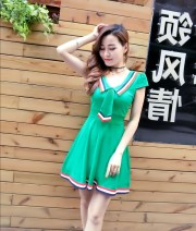 Dress Spring 2020 Pink, black, white, yellow, red, green, black long sleeves, white long sleeves, pink long sleeves, red long sleeves, green long sleeves M,L,XL,S Short skirt singleton  Long sleeves commute V-neck High waist Solid color Socket Princess Dress other Others Type A Ol style