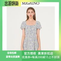 Dress Summer 2021 Broken flowers with purple background 150/76A/XS,155/80A/S,160/84A/M,165/88A/L,170/92A/XL Short skirt singleton  Short sleeve Sweet square neck High waist Broken flowers Socket A-line skirt Flying sleeve Others 25-29 years old Type A Migaino / manyanu Lace, lace MK24DA695