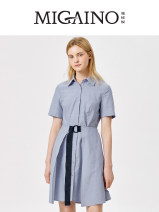 Dress Summer 2021 Fog blue 150/76A/XS,155/80A/S,160/84A/M,165/88A/L,170/92A/XLXL Short skirt singleton  Short sleeve commute stand collar middle-waisted Solid color Single breasted A-line skirt routine Others 25-29 years old Type A Migaino / manyanu Korean version belt MK24DA625 More than 95% cotton