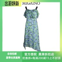 Dress Summer 2021 Decor 150/76A/XS,155/80A/S,160/84A/M,165/88A/L,170/92A/XLXL Mid length dress singleton  Sleeveless Sweet other High waist Big flower zipper A-line skirt other camisole 25-29 years old Type A Migaino / manyanu Lace MK22DA165 More than 95% other polyester fiber Countryside