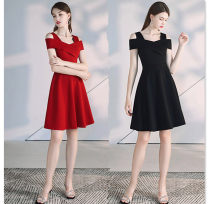 Dress Autumn 2020 Red, black S 80-95,M 95-105,L 105-115,XL 115-125,2XL 125-135 Miniskirt singleton  Short sleeve commute One word collar middle-waisted Solid color zipper A-line skirt other Others lady 81% (inclusive) - 90% (inclusive) brocade other