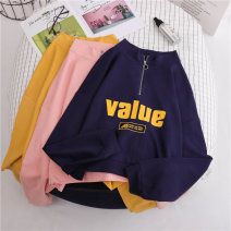 Sweater / sweater Autumn of 2019 2017 # white (regular) 2017 # Pink (regular) 2017-1 # white (plush) 2017-1 # Pink (plush) S M L XL Long sleeves routine Socket singleton  Thin money stand collar easy commute routine letter 18-24 years old 71% (inclusive) - 80% (inclusive) Wang Jiao Korean version