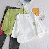 T-shirt S M L XL Summer of 2019 Short sleeve Crew neck easy Regular routine commute polyester fiber 86% (inclusive) -95% (inclusive) 18-24 years old Korean version classic letter Wang Jiao Polyester 95% polyurethane elastic fiber (spandex) 5% Pure e-commerce (online only)