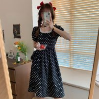 Dress Spring 2021 White, black S,M,L,XL Middle-skirt singleton  Short sleeve commute square neck High waist Dot Socket 18-24 years old Type A 81% (inclusive) - 90% (inclusive) Chiffon other
