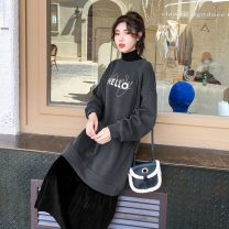 Dress Winter 2020 Black stitching leopard, black conventional, apricot stitching leopard, gray conventional, coffee plush, black plush, apricot plush, gray plush S,M,L,XL,2XL Mid length dress Fake two pieces Long sleeves commute Crew neck Socket Pleated skirt Others Type H Other / other cotton