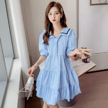 Dress Summer 2021 White, blue S,M,L,XL,2XL Middle-skirt singleton  Short sleeve commute Admiral middle-waisted Solid color Socket A-line skirt routine Others 18-24 years old Type A 71% (inclusive) - 80% (inclusive) other