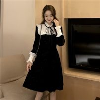 Dress Winter 2020 black S, M Middle-skirt singleton  Long sleeves commute Lotus leaf collar middle-waisted Socket A-line skirt bishop sleeve Others 18-24 years old Type A Korean version Splicing 31% (inclusive) - 50% (inclusive) knitting polyester fiber