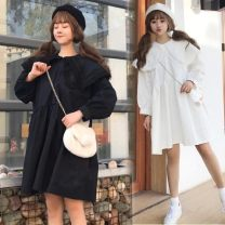 Dress Spring of 2019 White, black Average size Middle-skirt three quarter sleeve commute Double collar Loose waist Solid color Single breasted Big swing 18-24 years old Other / other Korean version Button