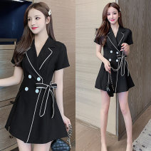 Women's large Spring 2021, summer 2021, autumn 2021 black Dress Two piece set commute easy moderate Socket Short sleeve Shape, solid, other Korean version other Medium length Cotton, others Three dimensional cutting routine 25-29 years old belt 81% (inclusive) - 90% (inclusive) Medium length other