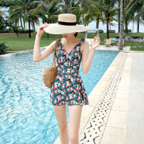 one piece  Agliondy S M L XL Tropical green Skirt one piece Steel strap breast pad Nylon spandex polyester AGL210037 Winter 2020 no female Sleeveless Casual swimsuit other