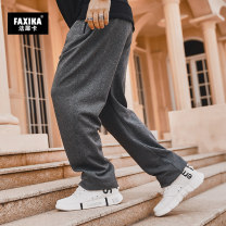 Casual pants Farsika Youth fashion Black light grey dark grey 30/XL 32/2XL 34/3XL 36/4XL 38/5XL 40/6XL 42/7XL 44/8XL routine trousers Other leisure easy No bullet XC20-1033G autumn Large size tide 2020 middle-waisted Straight cylinder Cotton 95% polyurethane elastic fiber (spandex) 5% Sports pants
