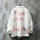 Jacket Trigg  Youth fashion White Black Pink White Plush black Plush Pink Plush 1030 white 1030 black S M L XL routine easy Other leisure winter Cotton 100% Long sleeves Wear out Lapel Chinese style routine Cloth hem Loose cuff Plants and flowers Winter of 2019 Embroidery Side seam pocket