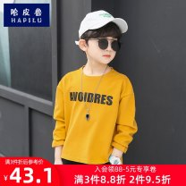 T-shirt White blue yellow Habiru  120cm 130cm 140cm 150cm 160cm 170cm 180cm male spring and autumn Long sleeves Crew neck leisure time There are models in the real shooting nothing cotton Solid color Cotton 100% HPLTX-279 Class B Sweat absorption Spring 2021 Chinese Mainland