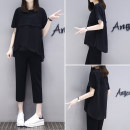 Women's large Summer of 2018 Brown black Large size XL Large size XXL Large size XXXL Large size XXXXL Commuting Two sets Loose Moderate T-shirt Short sleeve Sleeve Three-dimensional cutting Round neck Korean version Pure color other other Long section 25-29 years old pocket Cropped pants