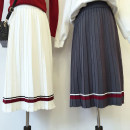 skirt Autumn of 2018 One size fits all (135-85) Gray, blue, black, white Mid length dress Versatile High waist Pleated skirt stripe Type A 18-24 years old 51% (inclusive) - 70% (inclusive) knitting thread