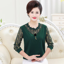 T-shirt XL,2XL,3XL,4XL,5XL,6XL Spring of 2019 Long sleeves Lotus leaf collar easy routine commute other 51% (inclusive) - 70% (inclusive) 40-49 years old classic Wave point Other / other Lace, hollowed out
