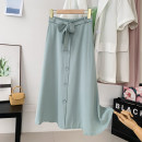 skirt Summer 2021 Average size Black, blue, apricot, green, pink Mid length dress Versatile High waist A-line skirt Solid color 51% (inclusive) - 70% (inclusive) other Button, stitching