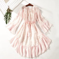 Dress Summer of 2018 Pink 1663-108 S M Middle-skirt singleton  three quarter sleeve Sweet One word collar middle-waisted Solid color Socket A-line skirt routine Others Type A Splicing 51% (inclusive) - 70% (inclusive) polyester fiber princess