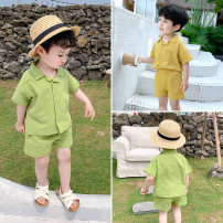 suit Sifangjia Yellow, green 80cm, 100cm, 110cm, 120cm, 130cm, 90cm (Chenchen try on size) male summer Korean version Short sleeve + pants 2 pieces routine There are models in the real shooting Single breasted nothing Solid color cotton children Giving presents at school XT2006 Class B Other 100%