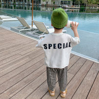 T-shirt White, black Sifangjia 80cm,90cm,100cm,110cm,120cm,130cm male summer Long sleeves Crew neck leisure time There are models in the real shooting nothing other other Other 100% xs3013 Class B Sweat absorption Chinese Mainland Zhejiang Province Huzhou City