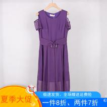 Dress Summer 2020 violet M,L,XL,2XL singleton  commute Crew neck More than 95% polyester fiber