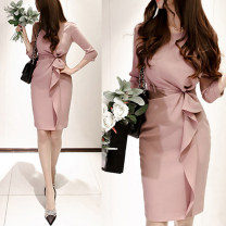 Dress Spring 2021 Picture color S,M,L,XL Mid length dress singleton  Long sleeves commute Crew neck High waist Solid color Socket One pace skirt routine Others 25-29 years old Type H Ol style Tie, splice, threaded 51% (inclusive) - 70% (inclusive) brocade polyester fiber