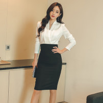 Dress Autumn 2020 White and black S,M,L,XL,2XL Middle-skirt singleton  Long sleeves commute V-neck High waist zipper One pace skirt Other / other Korean version zipper