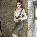 Dress Winter 2017 S,M,L,XL Middle-skirt Two piece set Long sleeves commute stand collar High waist other Single breasted Pencil skirt routine straps 25-29 years old Type X Korean version 81% (inclusive) - 90% (inclusive) Crepe de Chine polyester fiber