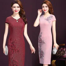 Dress Summer of 2018 Red, gold, pink L,XL,2XL,3XL,4XL,5XL,6XL Mid length dress singleton  Short sleeve commute other middle-waisted other Socket One pace skirt routine Others 30-34 years old Type X Korean version Embroidery, printing G8175