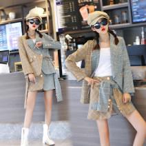 Fashion suit Autumn of 2019 lattice 18-25 years old