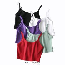 Vest sling Summer 2020 White [18038] , Black [18038] , Red [18038] , Purple [18038] , Light green [18038] S,M,L singleton  have cash less than that is registered in the accounts Self cultivation street camisole Solid color
